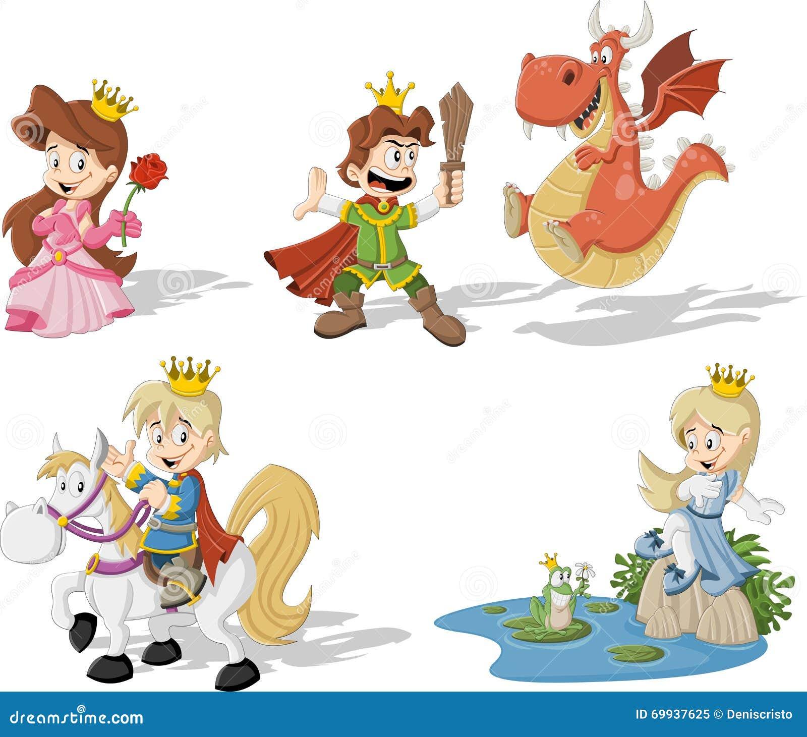 Princesas E Principes Dos Desenhos Animados Ilustracao Do Vetor