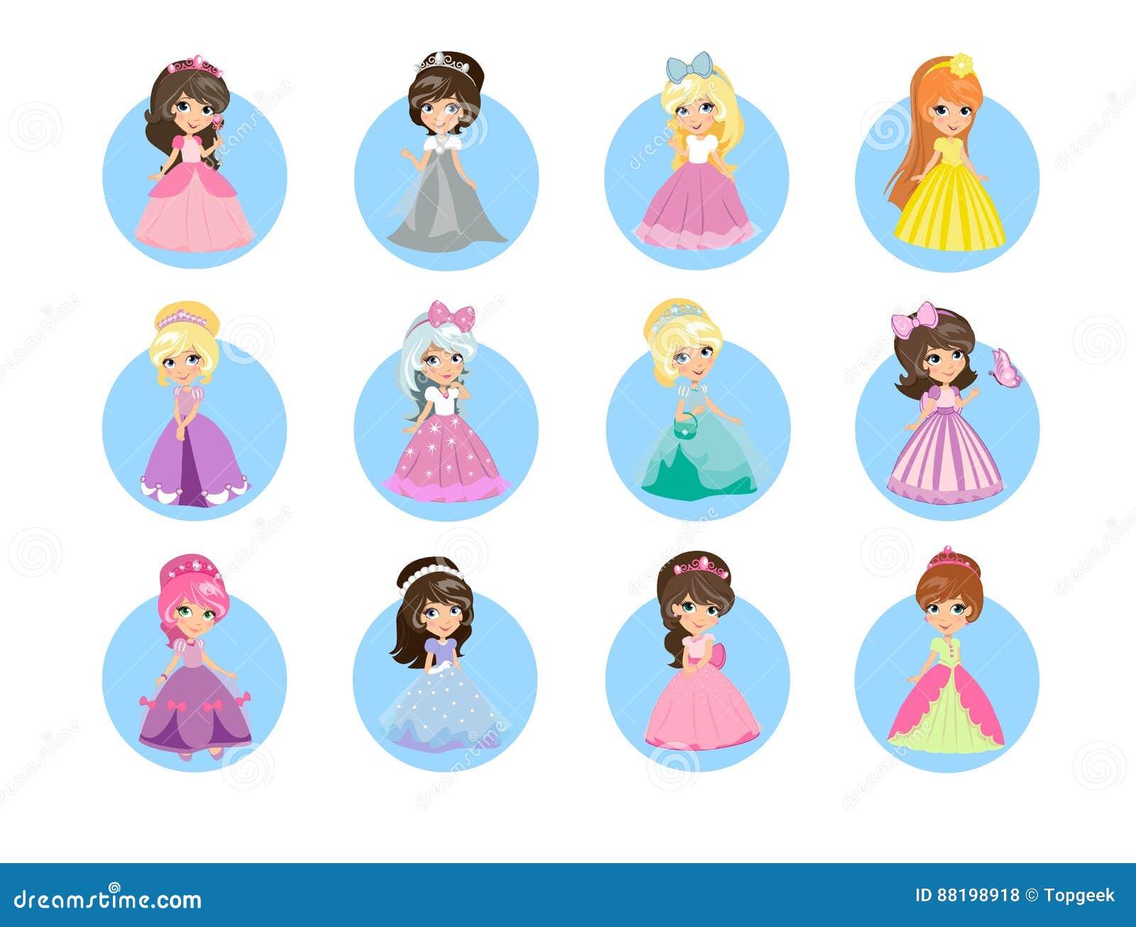 Princesas Liso Vetor Icone Ajuste Bonito Dos Desenhos Animados