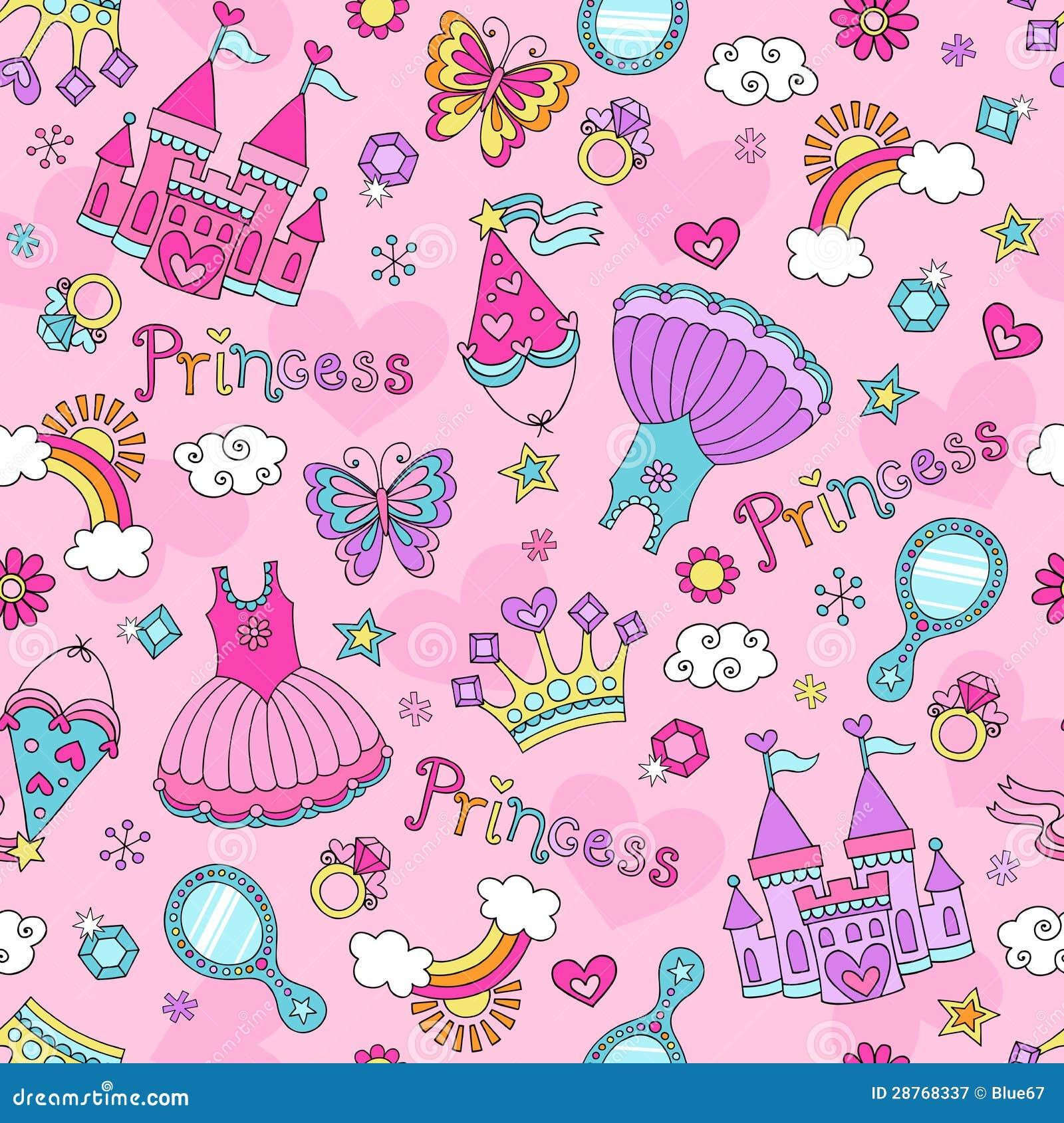 Princess bajka Doodles Bezszwowego Deseniowego Vecto