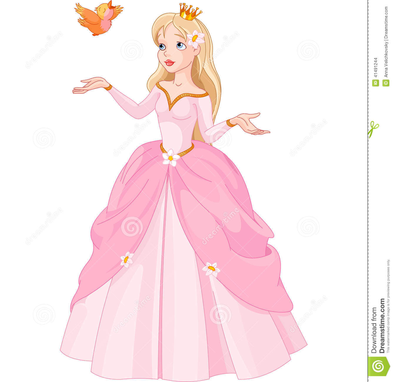 Princess And Bird Stock Vector Image 41491244