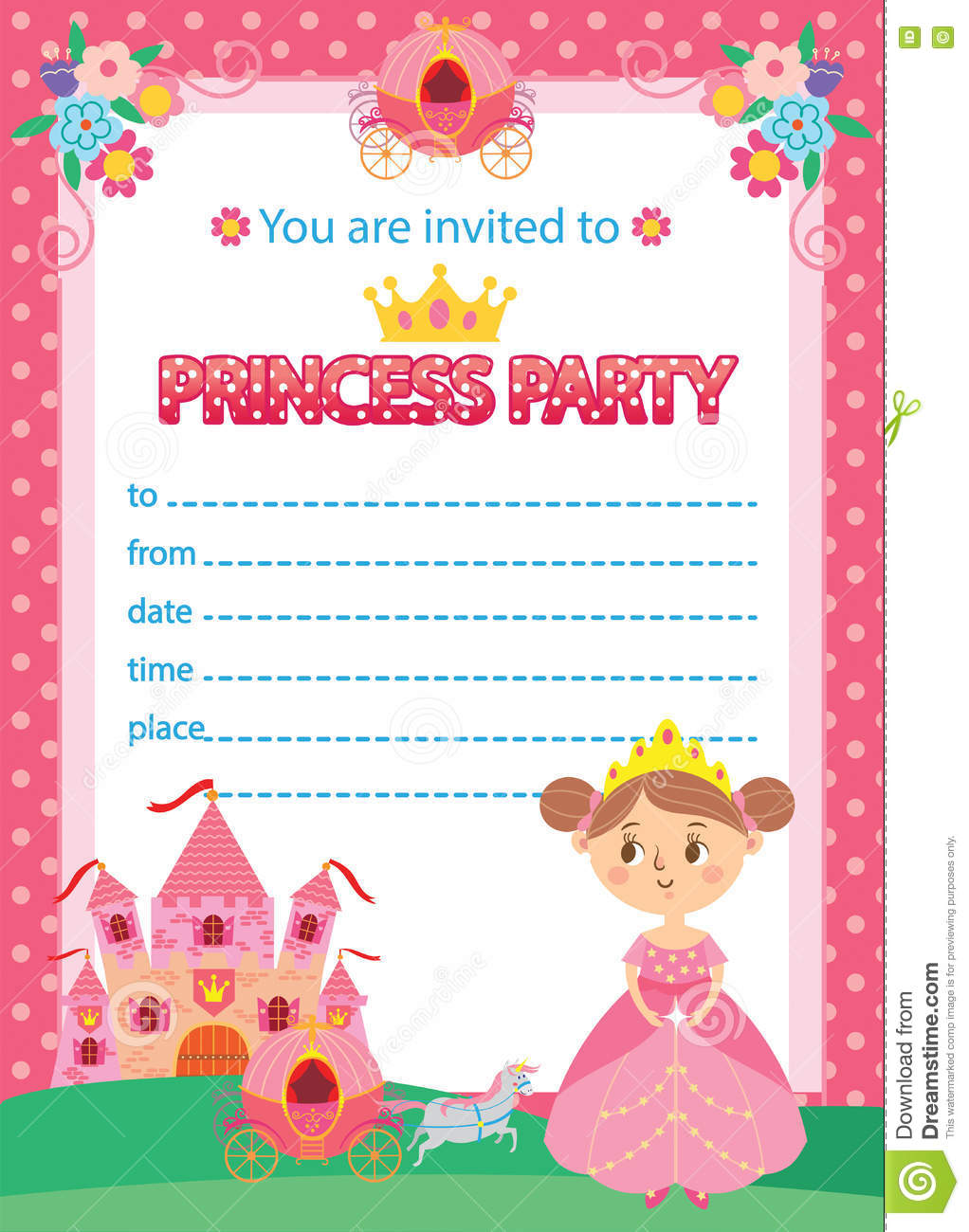 Princess Birthday Party Invitations Template | Princess Birthday Party Stock Vector Illustration Of Children