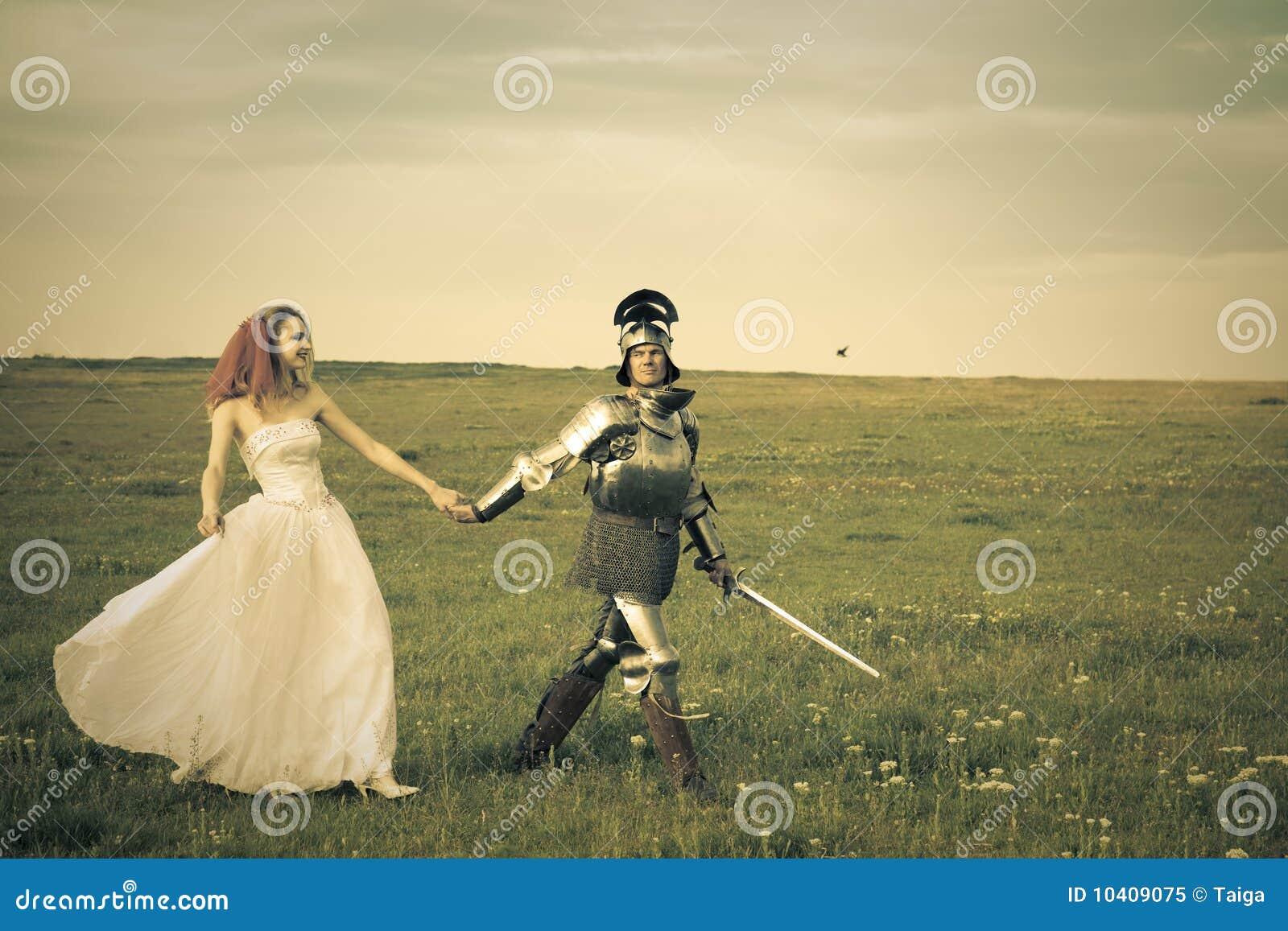 Princess Bride And Her Knight / Retro Style Stock Image ...