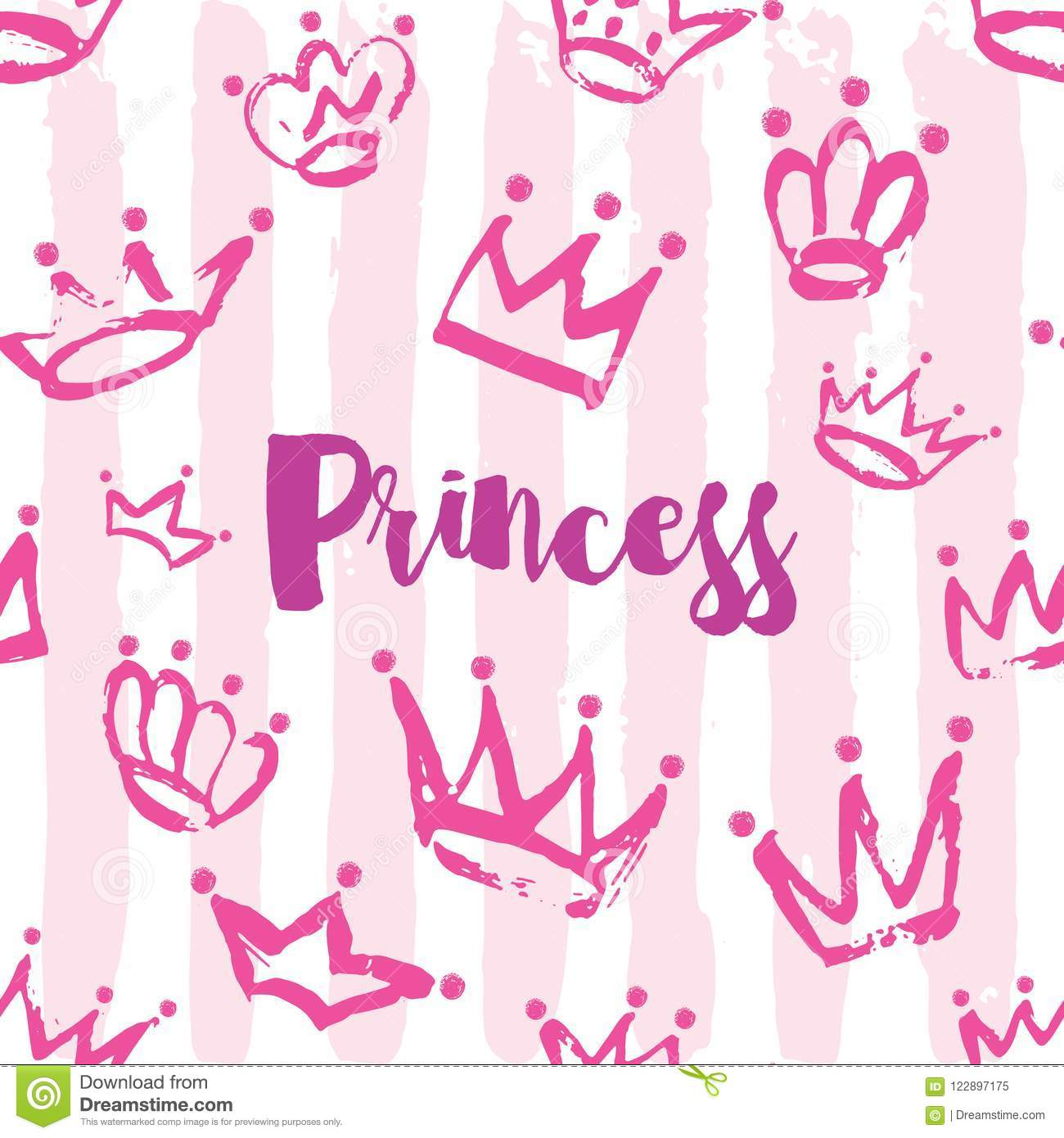 Princess Card Design Hand Drawn Crown Pattern In Pink Color On