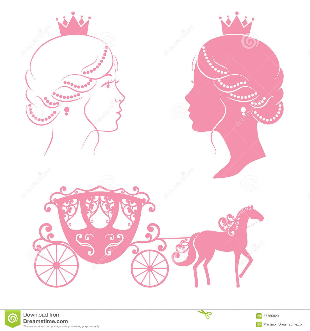 Princess And Carriage With Horse In Pink Color Stock
