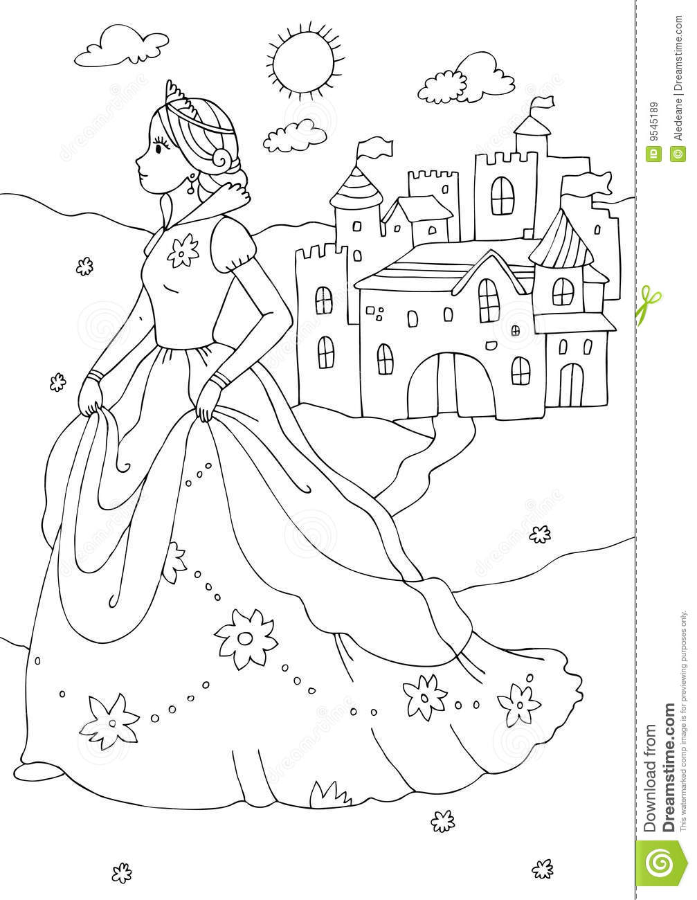 Princess And Castle Coloring Page Royalty Free Stock Images ...
