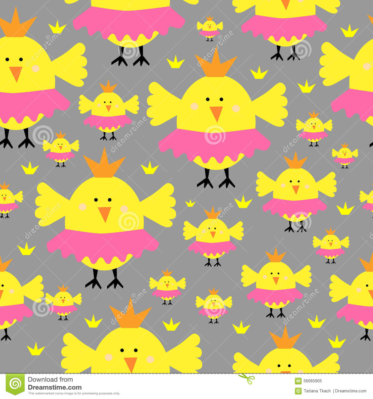 Princess chick chicken seamless pattern stock vector for Children s character fabric