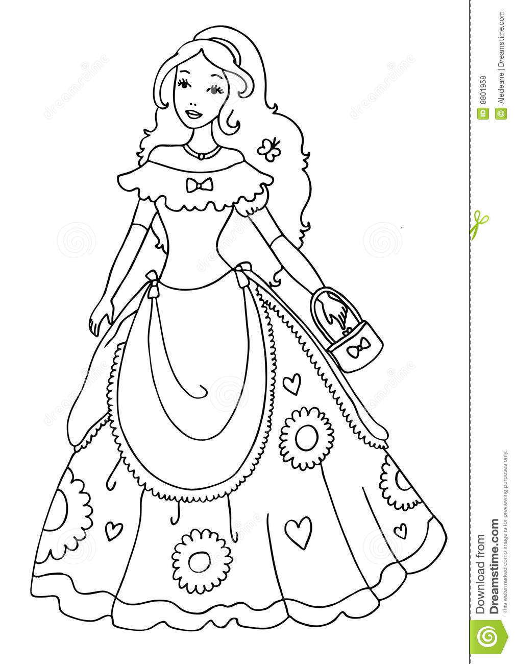 Princess Coloring Page stock illustration. Illustration of education ...