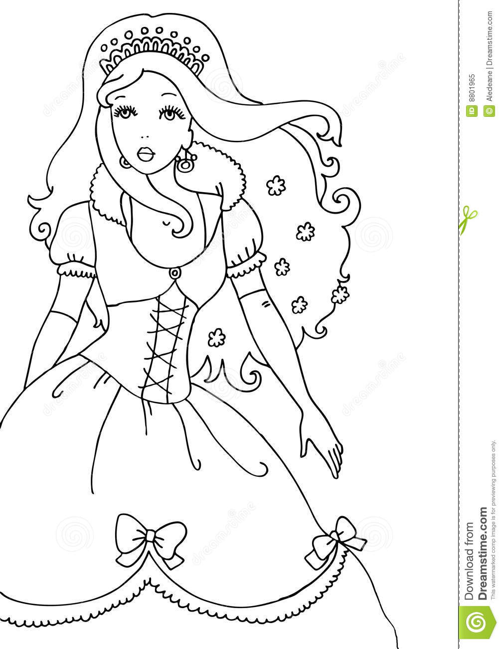 princess coloring page royalty free stock photo image 8801965