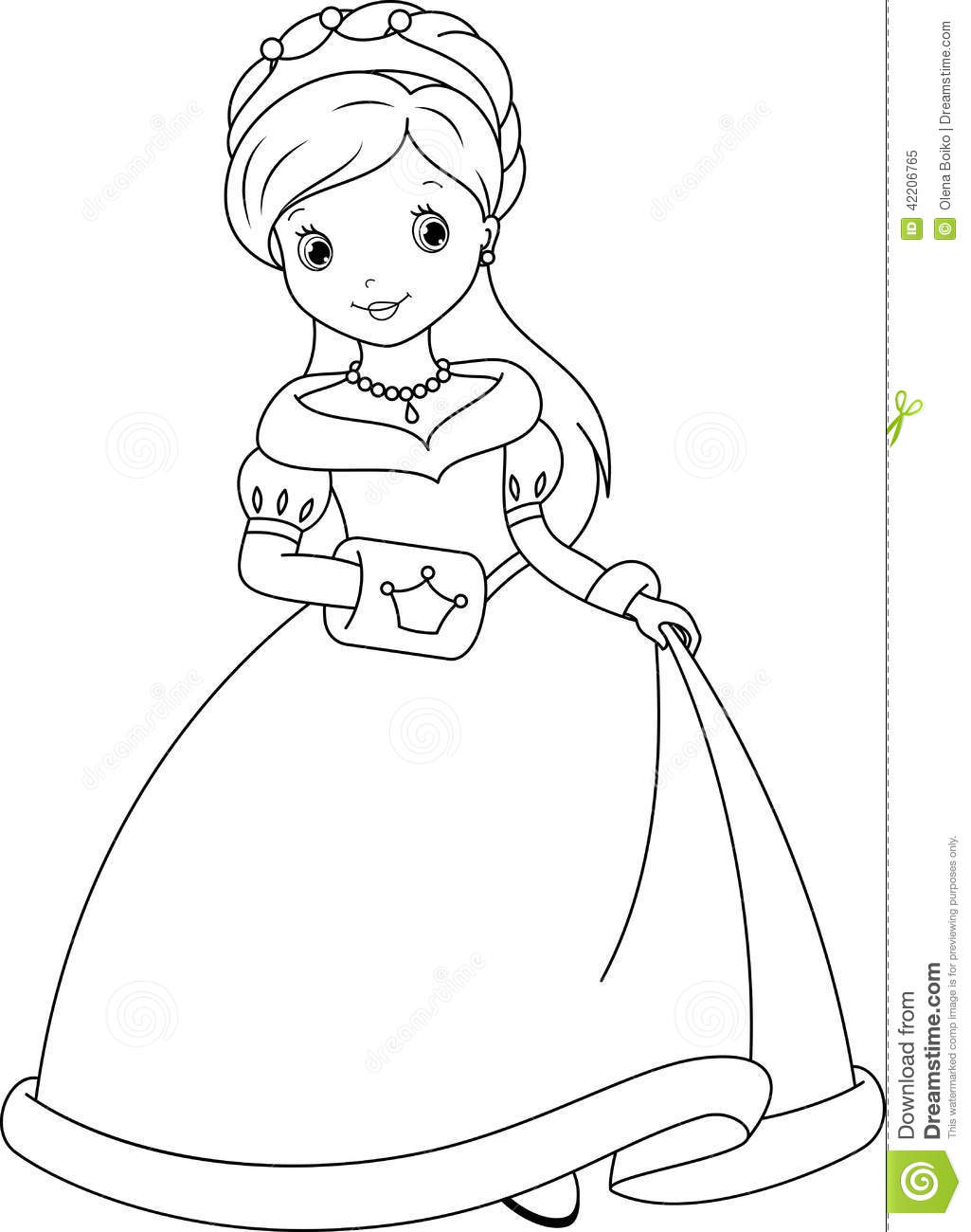 Princess Coloring Page Stock Vector Illustration Of