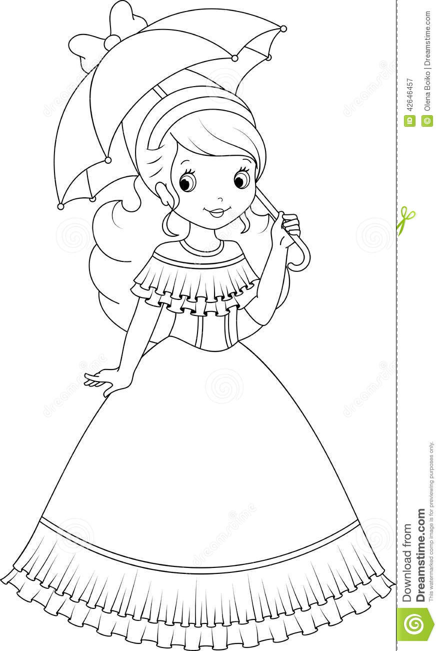 Little princess coloring pages - Princess Coloring Page Stock Vector Image 42646457 Princess Coloring Page Little Umbrella Walk 42646457 Stock Illustration