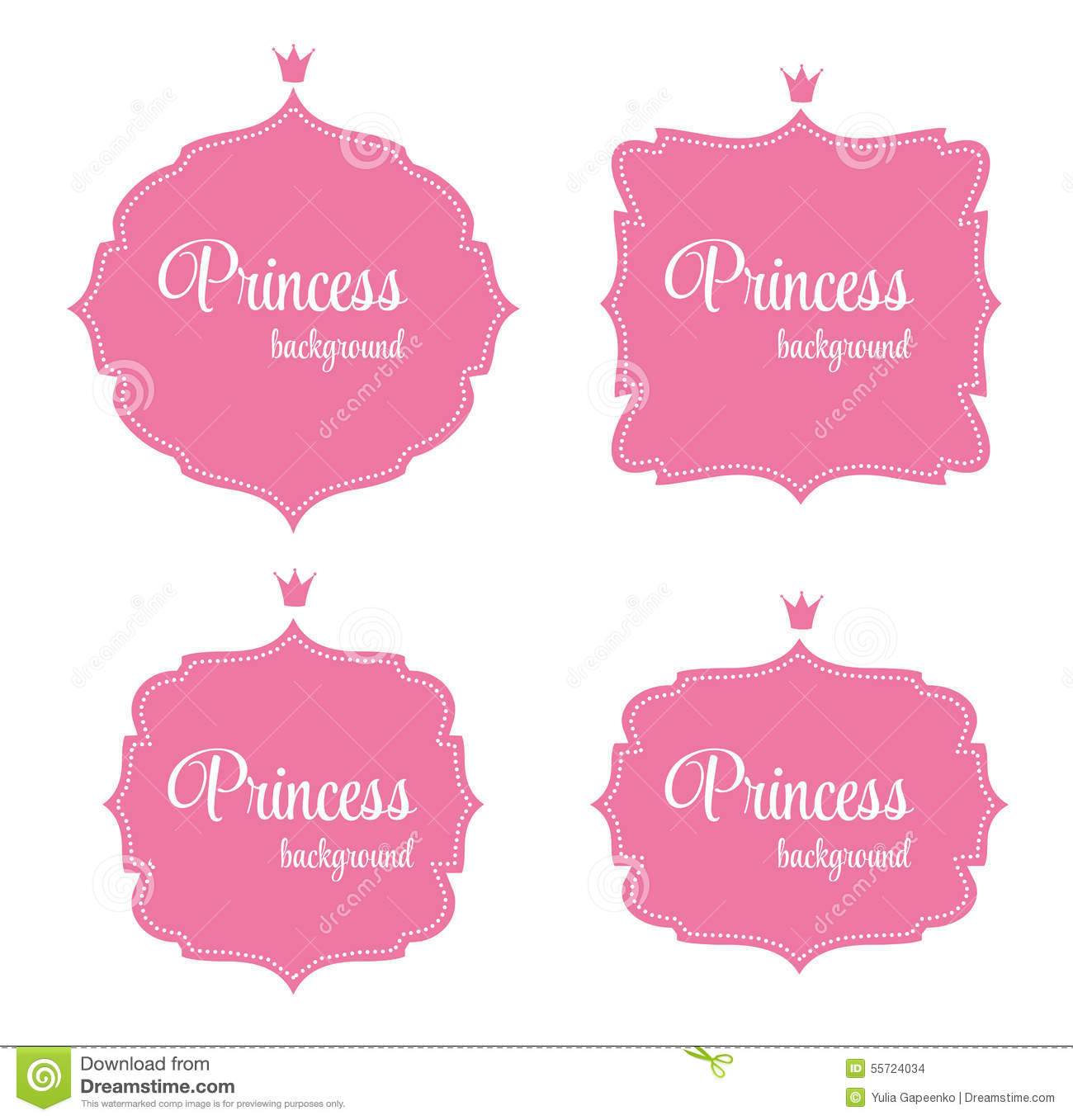 princess crown frame vector illustration stock images
