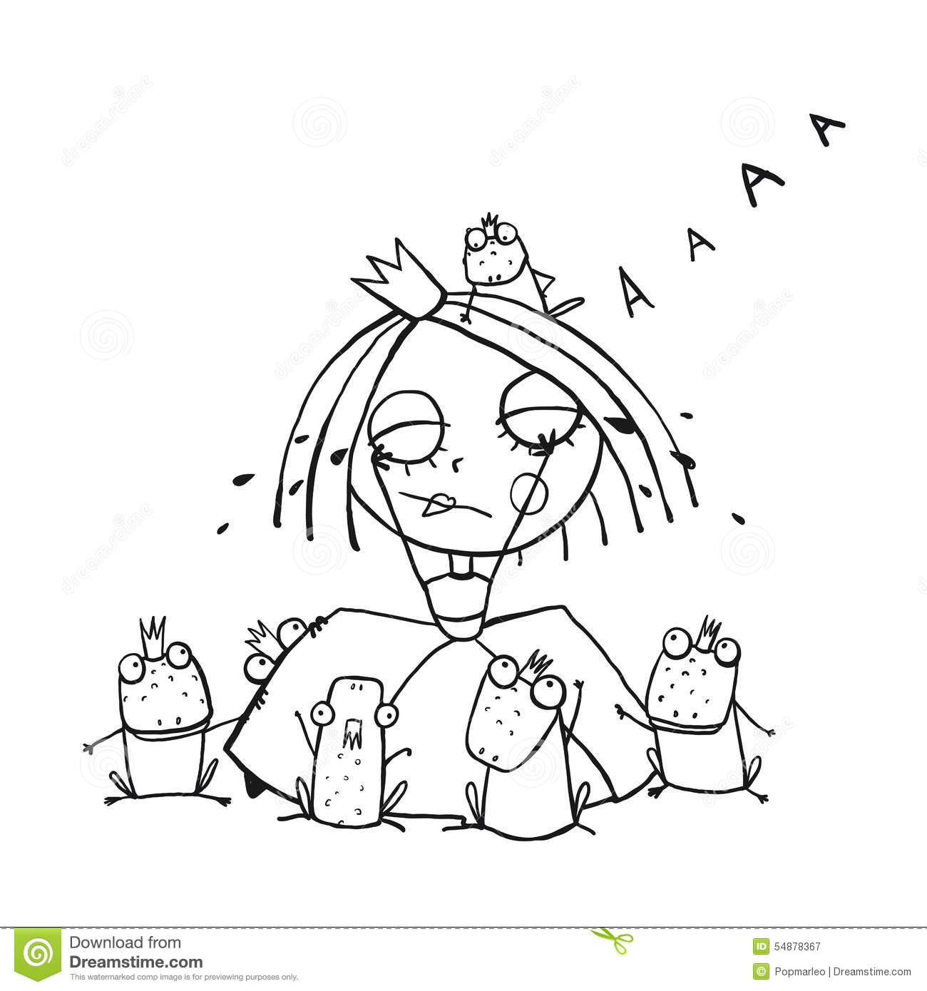 princess crying and many prince frogs coloring stock vector image 54878367 Devil Frog Screaming Cat