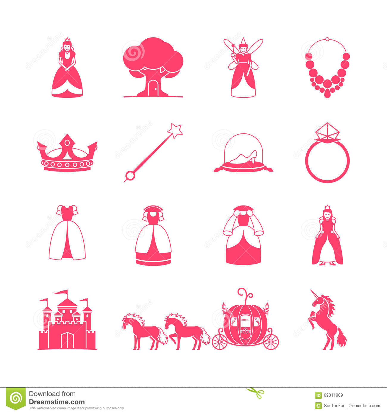 Stock vector of cartoon illustration castle isolated on white - Princess Fairytale Icon Set Stock Vector Image 69011969