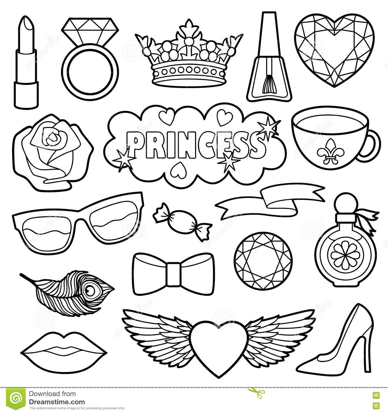 princess fashion patches coloring set stock vector image 78923810