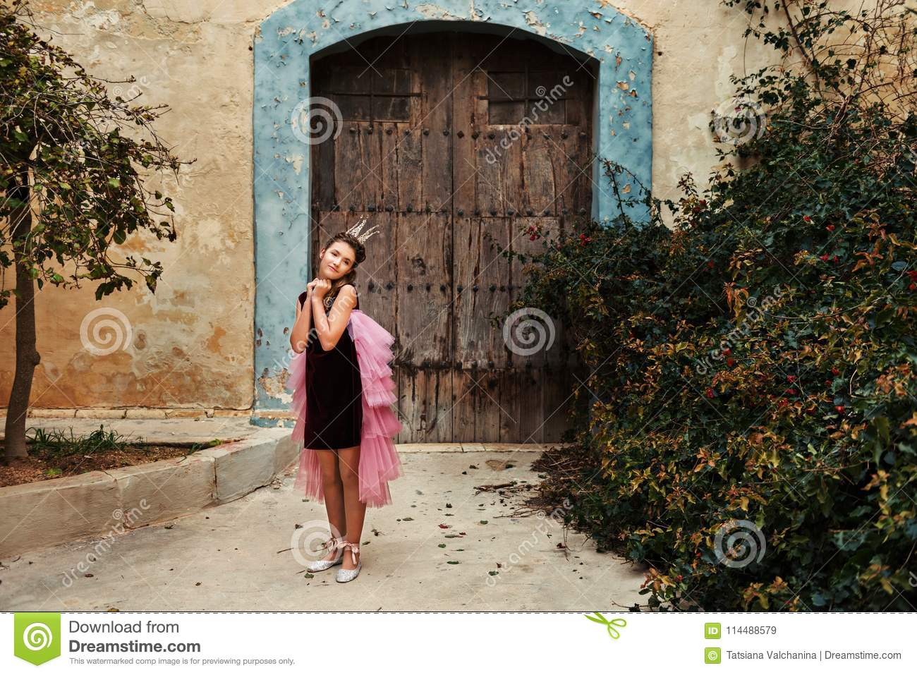 A sweet princess girl in a crown and a burgundy dress with a pink veil is pampered in front of an old house with an ancient wooden