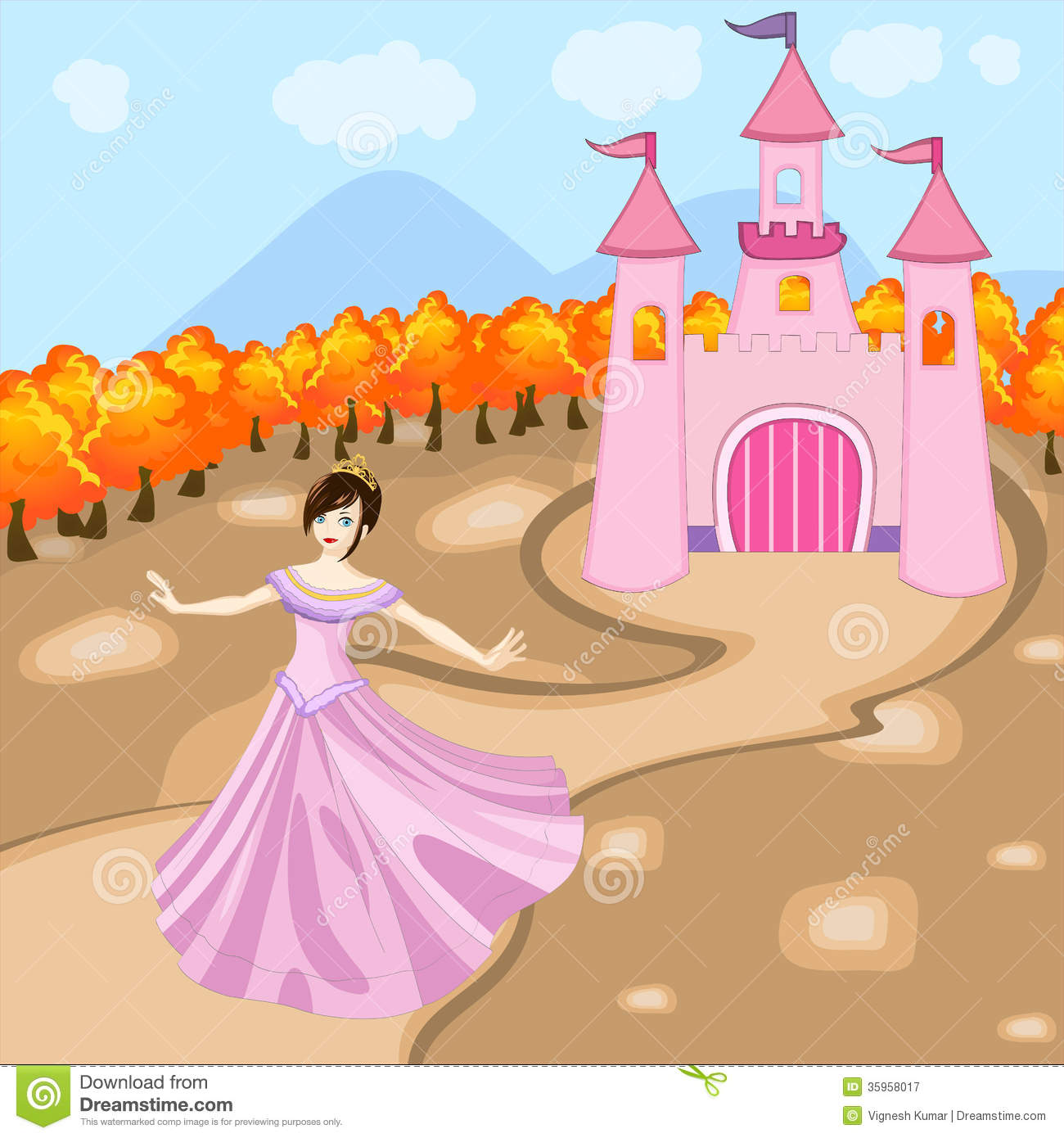 Princess with her castle royalty free stock photography for Little princess castle