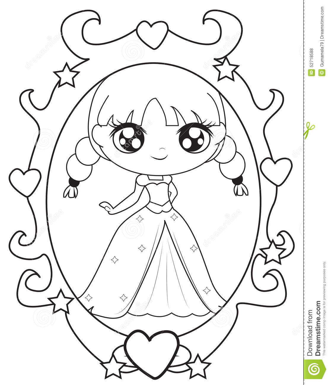 Download Princess In A Mirror Coloring Page Stock Illustration