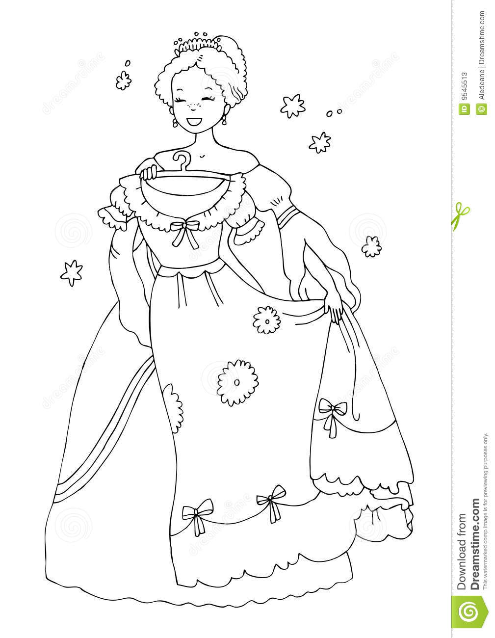 princess with new dress coloring page stock photos image 9545513