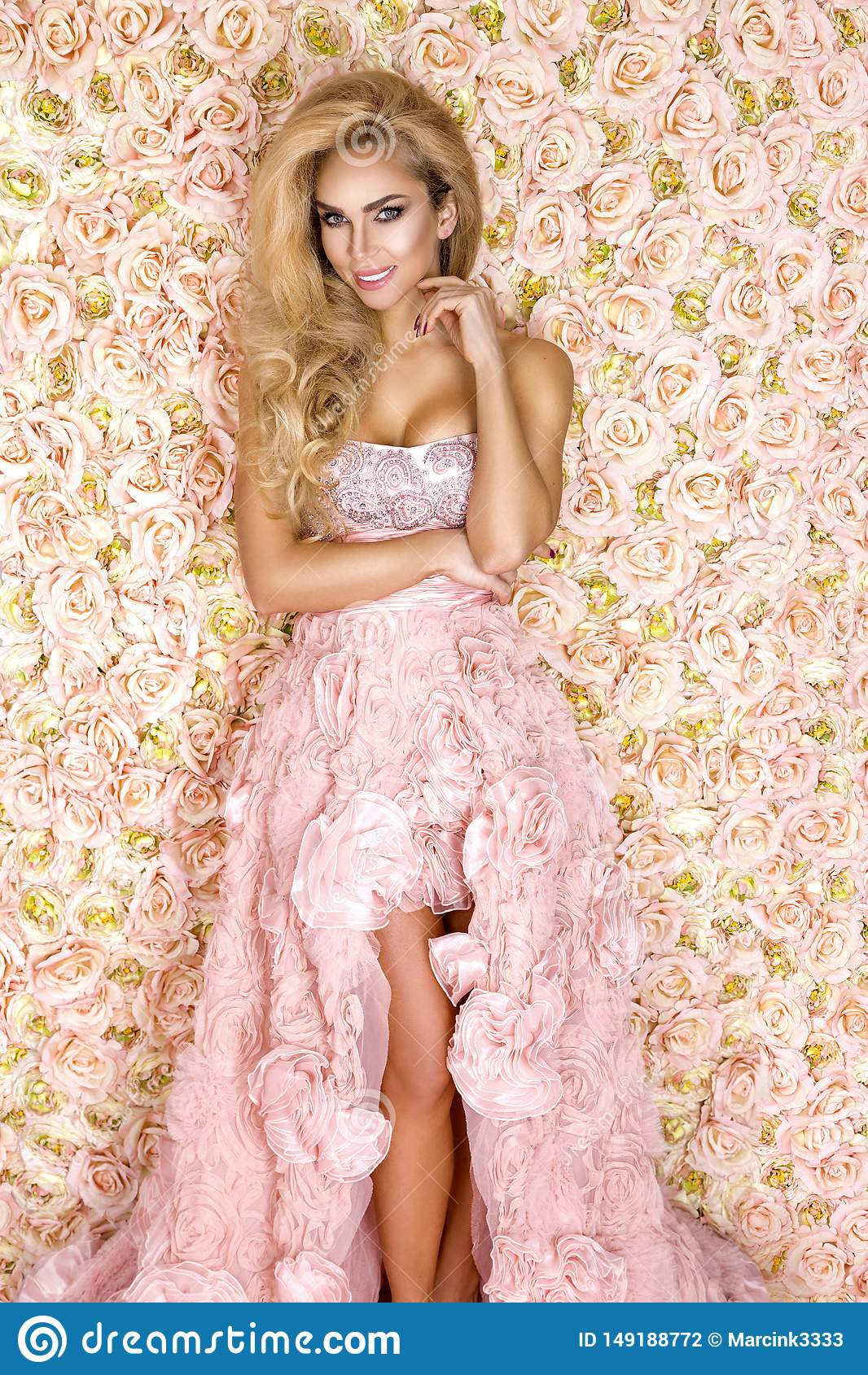Princess, panna m?oda w r??owej ?lubnej sukni Pi?kna m?oda kobieta - wizerunek