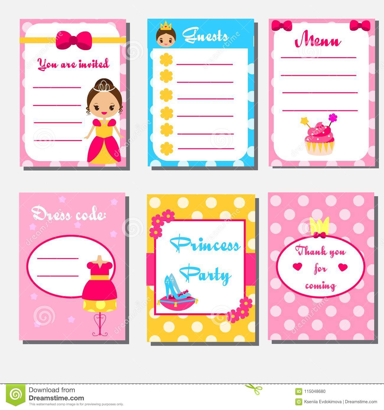Princess Party Kids Collection. Children Girls Party Set Design ...