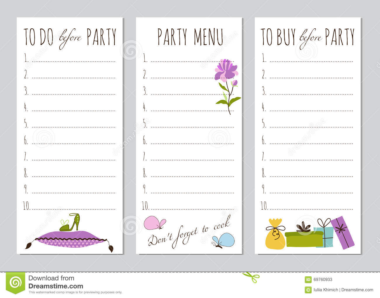 princess party to do list stock vector