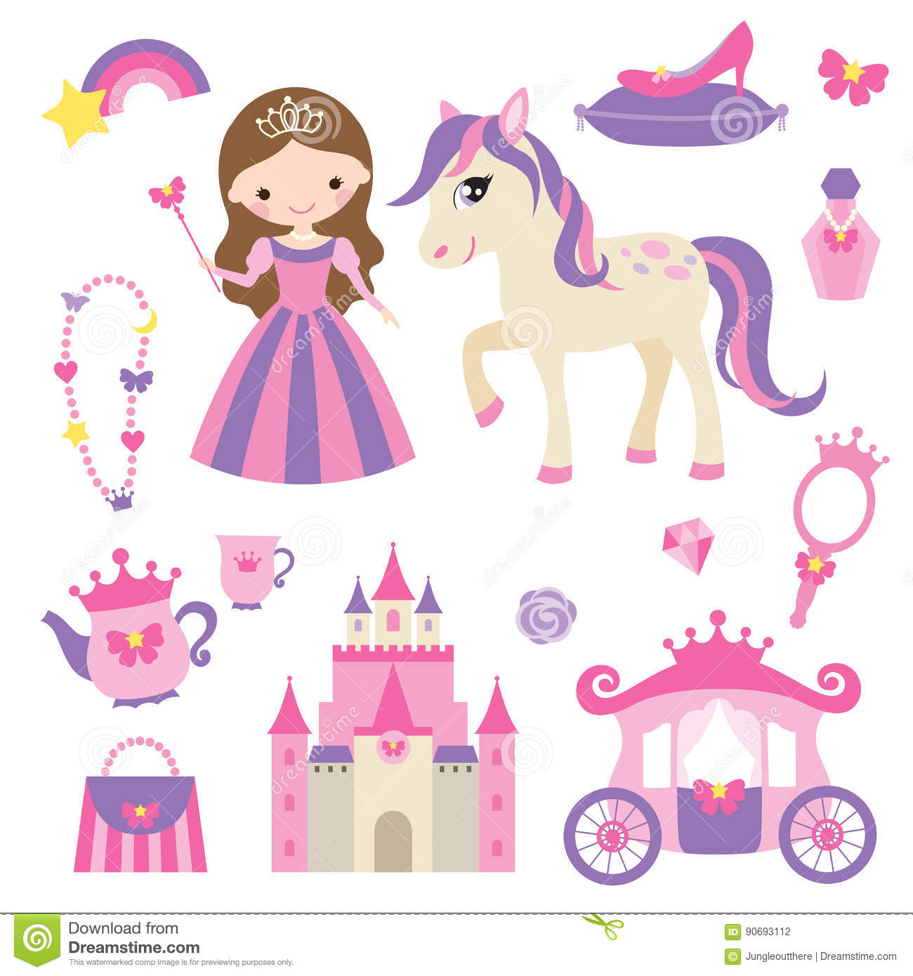 Princess, Pony And Accessories Set Stock Vector