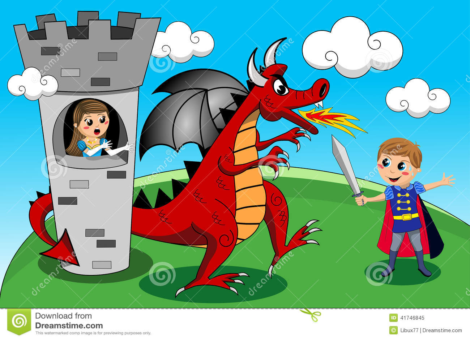 Princess Prince Dragon Tower Duel Kids Tale Stock Vector