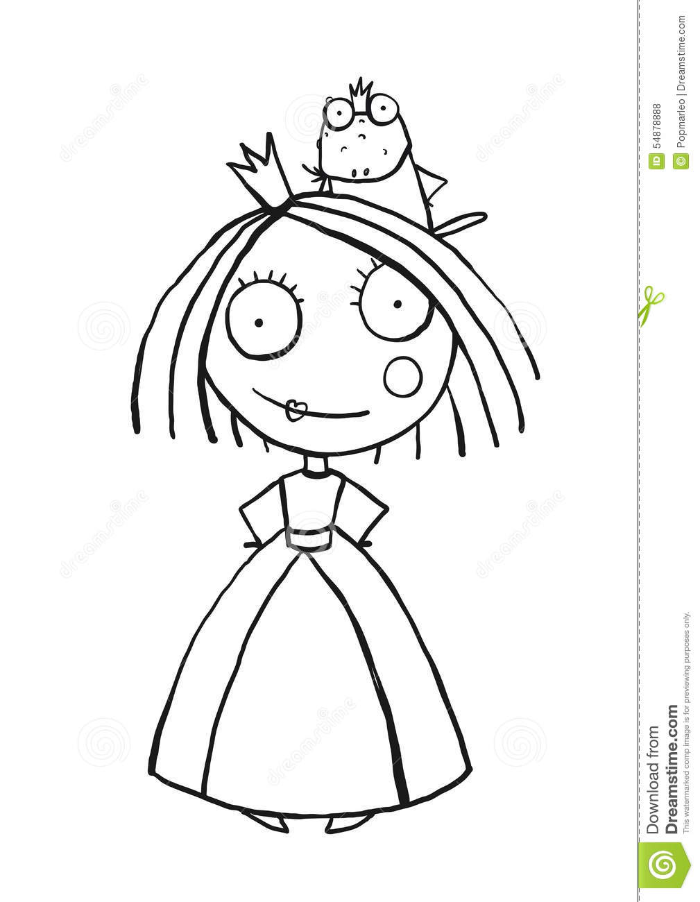 princess and prince frog portrait coloring page stock vector