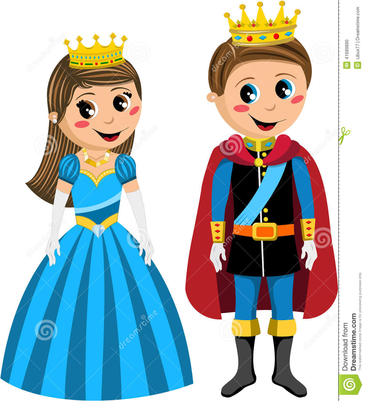 Caucasian children princess and prince standing isolated on white ...