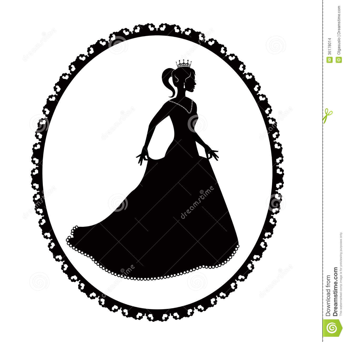 Princess Silhouette In Long Dress And Retro Frame Stock