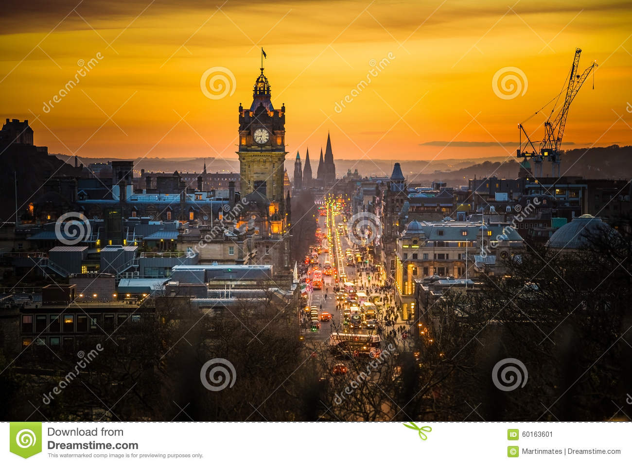 Princess street and Balmoral tower, sunset time