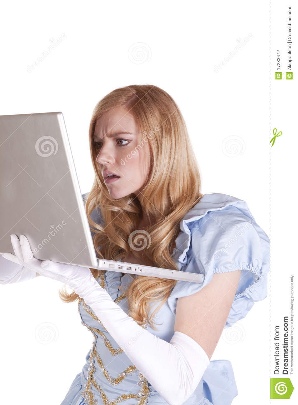 Princess surprised by computer