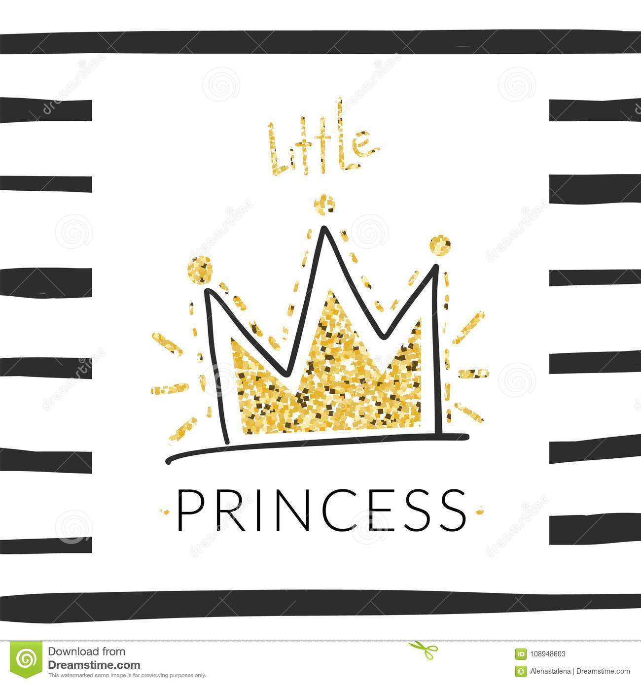 Princess t-shirt background with glitter crown in girlish style for modern apparel. Vector print design