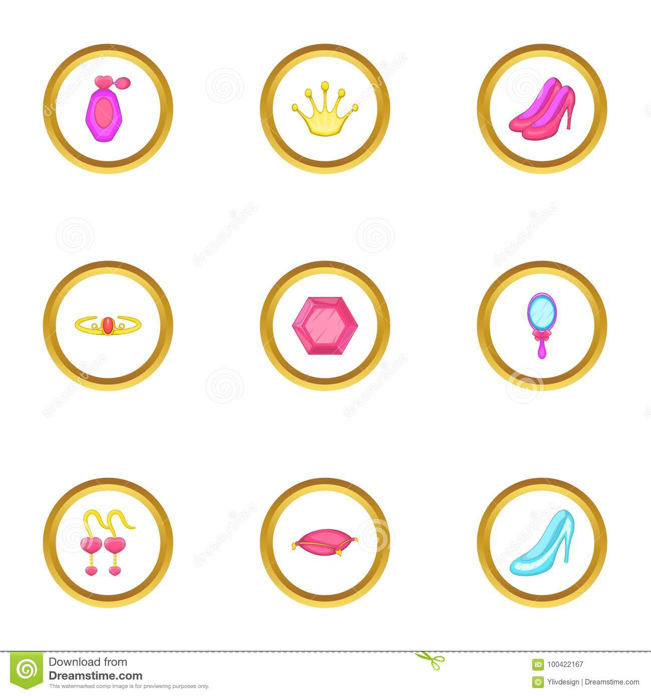 Princess Thing Icons Set Cartoon Style Stock Vector
