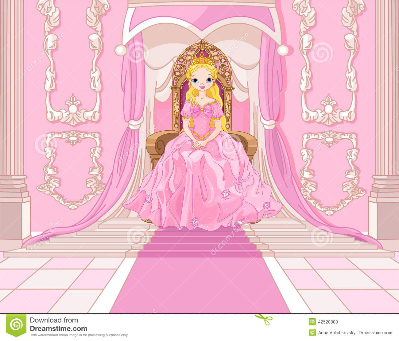 princess on the throne stock vector illustration of