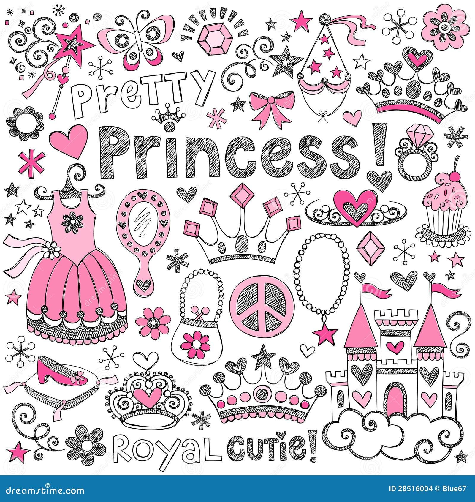Princess Tiara Royalty Sketchy Doodles Vector Set Stock