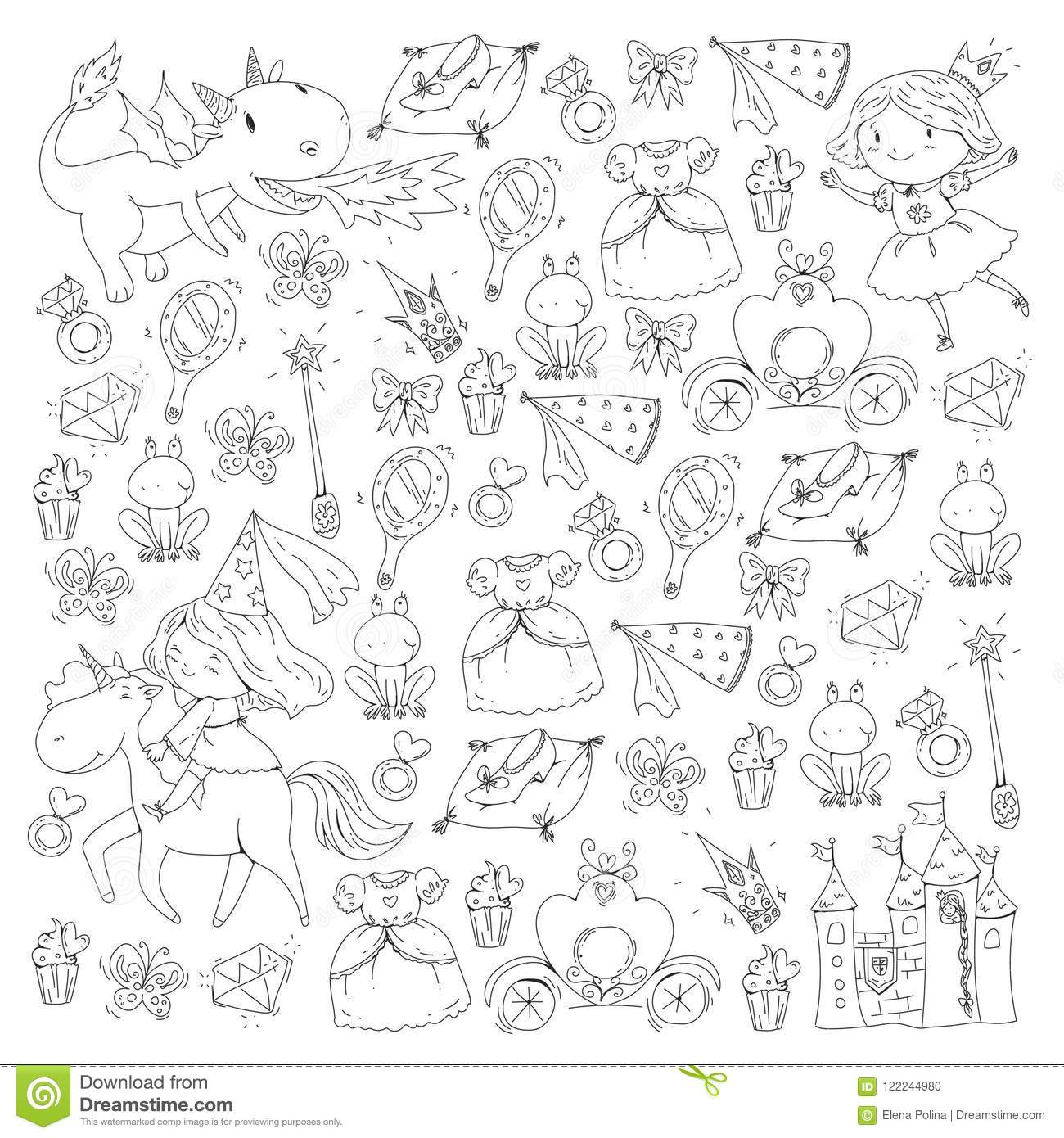 Coloring Page For Book. Cute Little Princess With Unicorn And Dragon ...