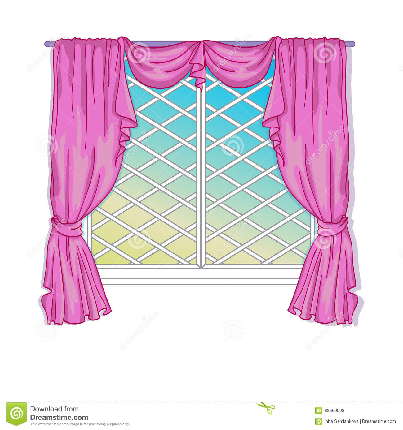 Princess Window With Curtains Stock Vector - Illustration of home ... for Window With Curtains Illustration  588gtk