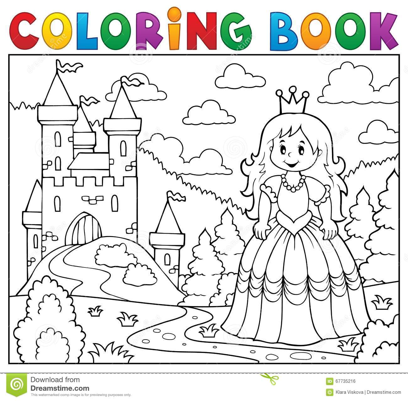 Princesse de livre de coloriage pr s de ch teau illustration de vecteur illustration du - Coloriage chateau de princesse ...