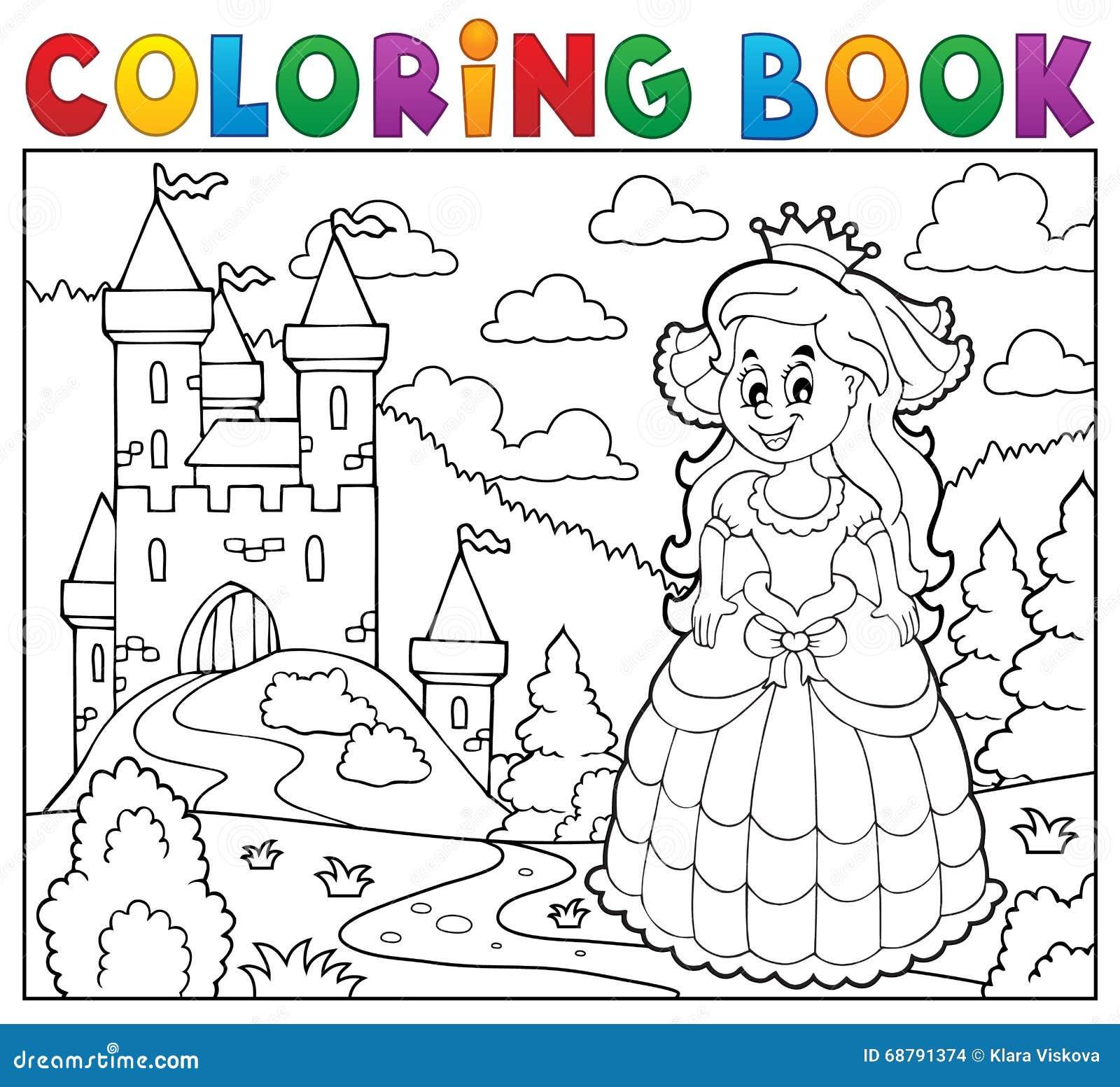 Coloriage Chateau Cheval.Princesse Heureuse De Livre De Coloriage Pres De Chateau