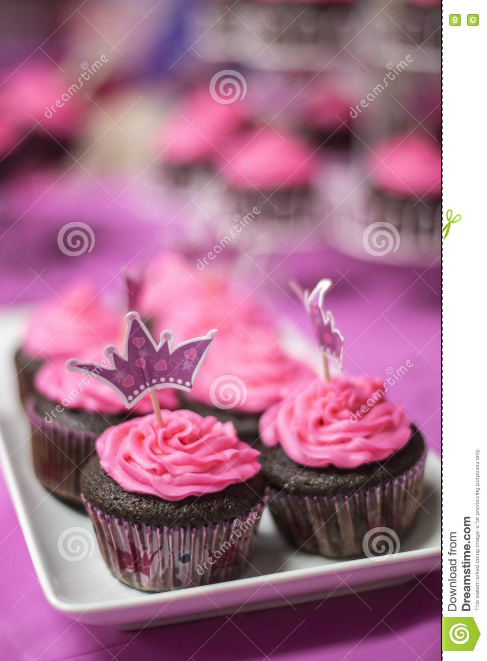 Vibrantly Frosted Pink Chocolate Cupcakes Adorn The Table For Perfect Princess Birthday Party