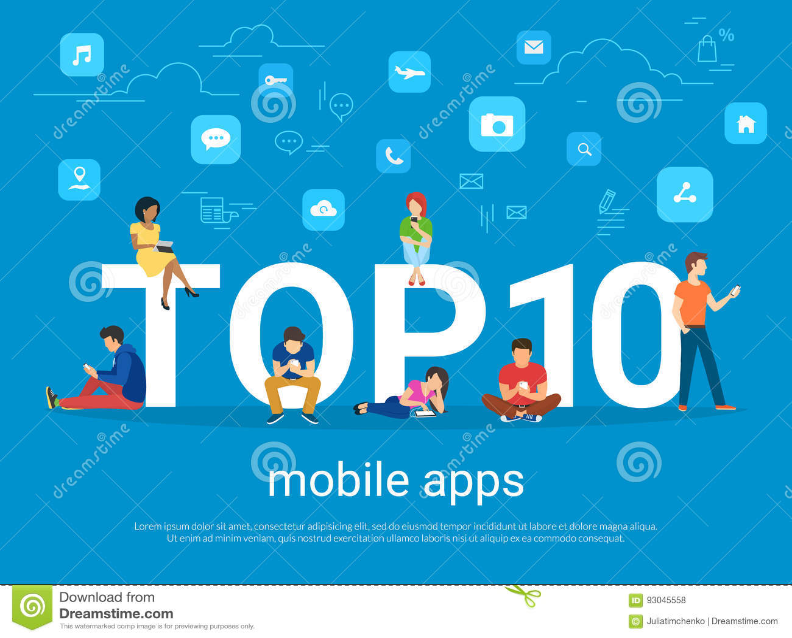 Principal 10 apps et personnes mobiles avec des instruments utilisant des smartphones