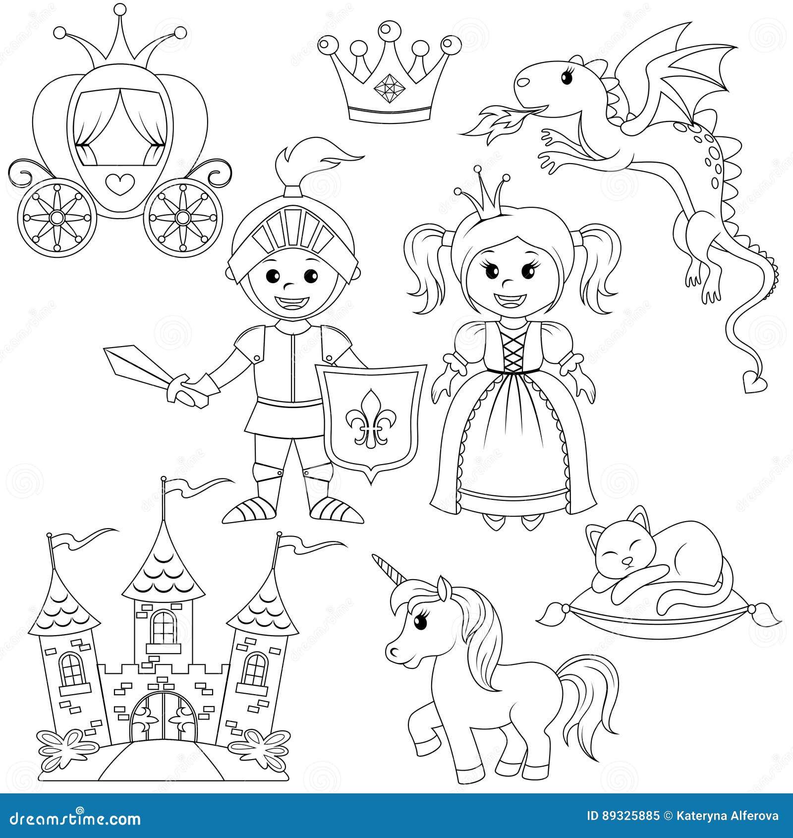 Principessa cavaliere castello trasporto unicorno - Cavaliere libro da colorare ...