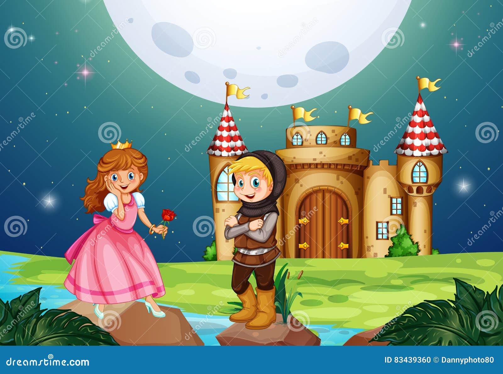 Principessa e cavaliere al castello