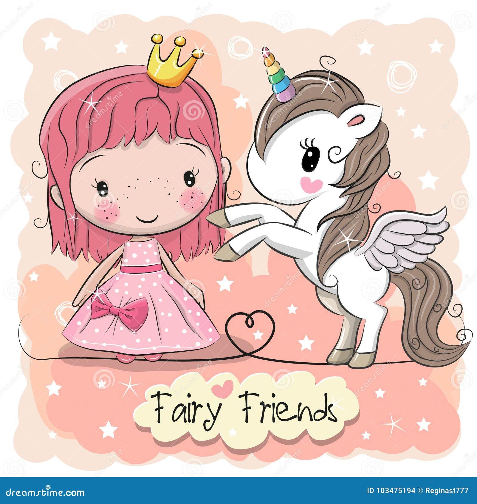 Principessa e unicorno svegli di fiaba del fumetto