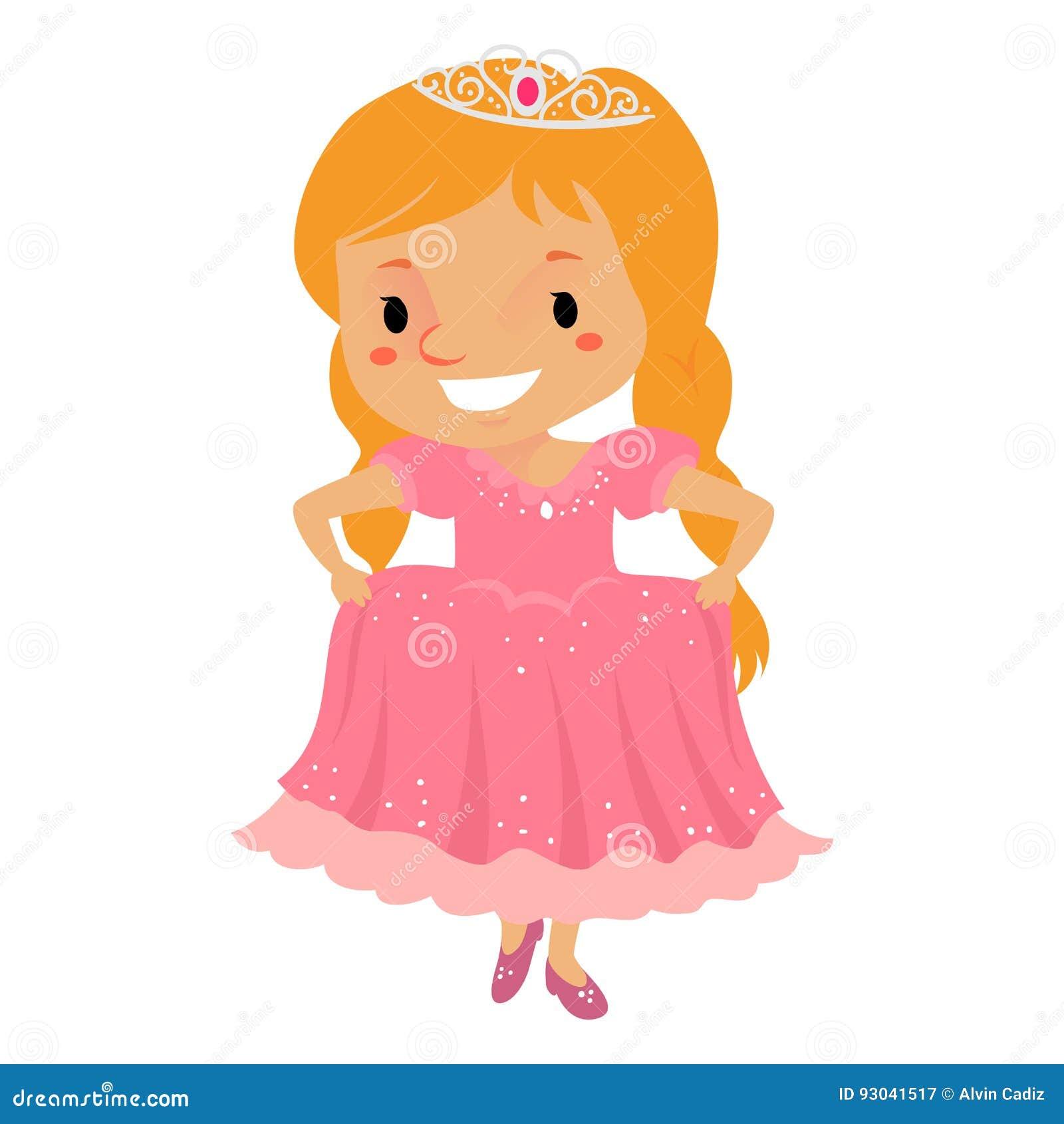 Principessa Girl che porta un vestito rosa