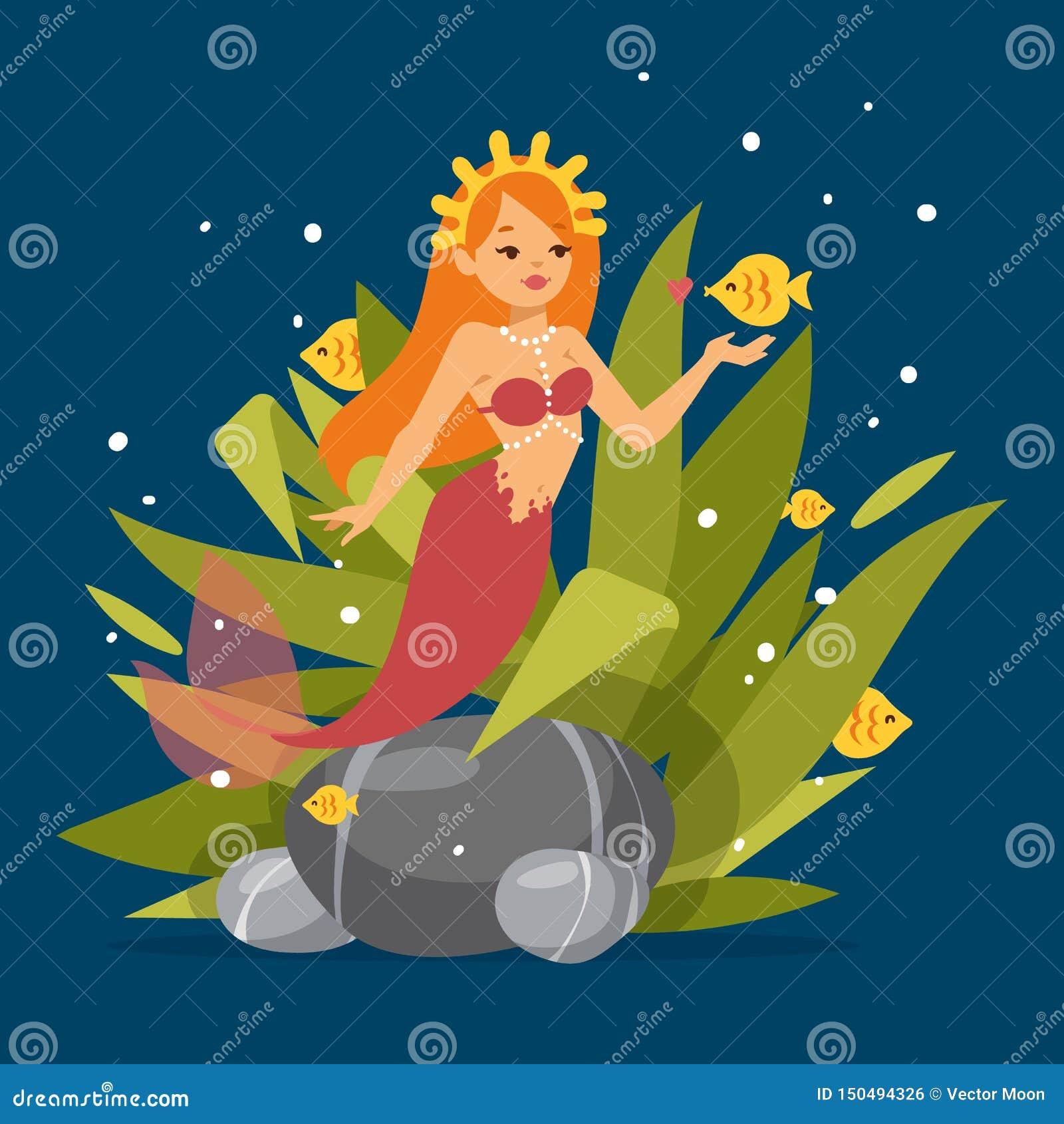 Principessa sveglia della sirena con capelli rossi ed altra nell ambito degli elementi del mare quali il pesce, l alga, le pietre
