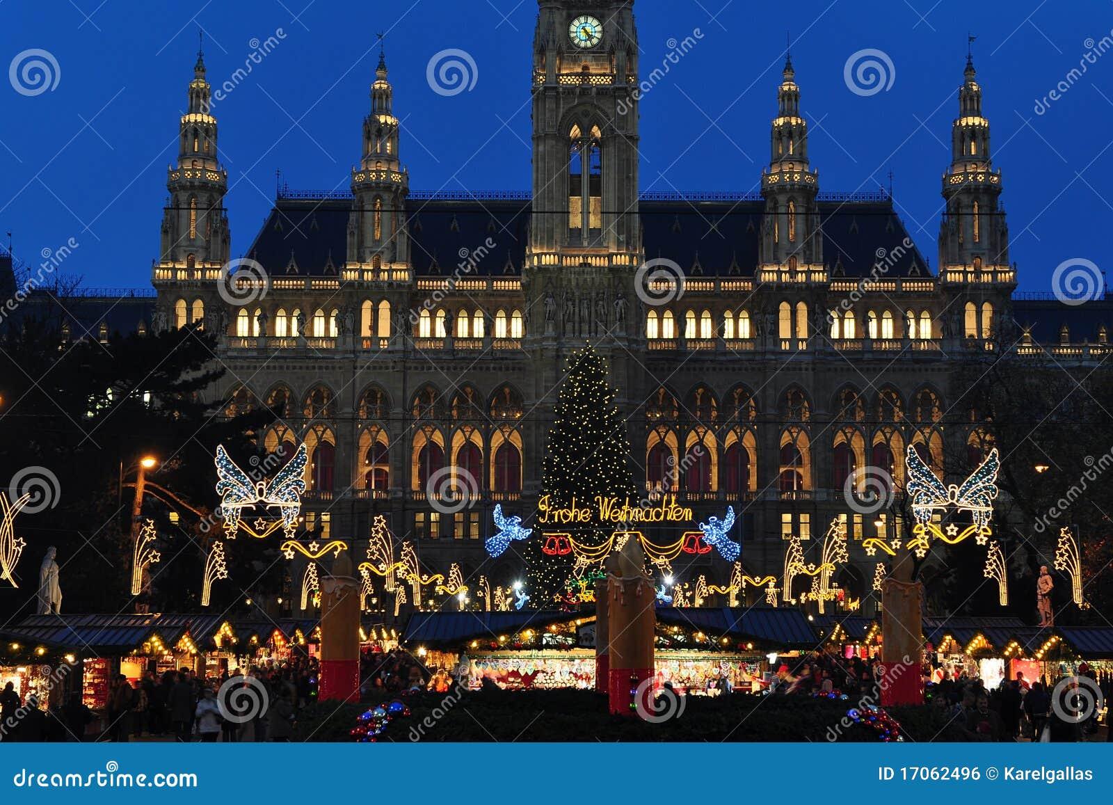 Principio del mercado del tiempo de la Navidad en Viena