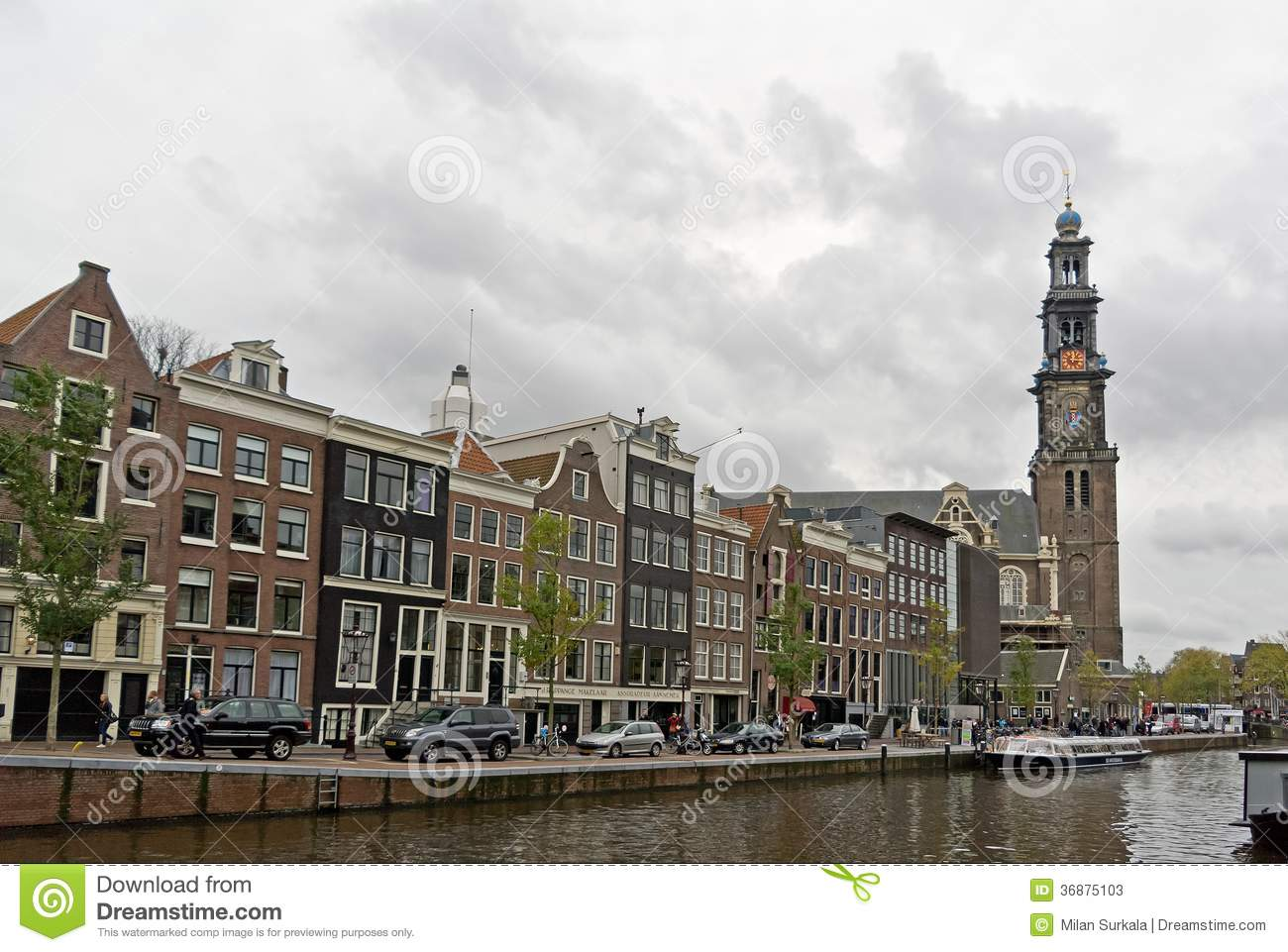 Prinsengracht Street With Western Church In Amsterdam Editorial Stock Photo - Image: 36875103