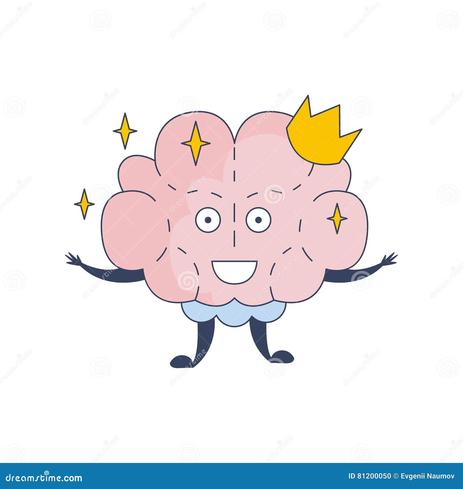 Prinsessa Brain In Crown Comic Character som föreställer intellekt- och intellektuellaktiviteter av tecknad filmlägenheten för mä